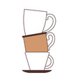 porcelain cup stack silhouette color section on vector image