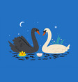 postcard with swans on pond graphics vector image