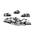 rocks stones sketch set vector image vector image