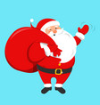 santa claus holding a red bag full gifts vector image vector image