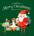 santa claus in red hat with beard sits on chair vector image