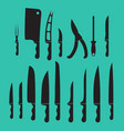 set kitchen knives shadow black vector image