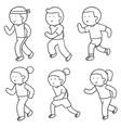 set of people running vector image vector image