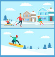 snowboarder and family set vector image vector image