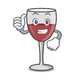 thumbs up wine character cartoon style vector image vector image