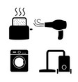 toaster hair dryer washing vacuum cleaner icons vector image vector image