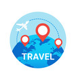 travel icon isolated plane fly over world globe vector image vector image