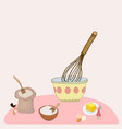 two tiny woman mixing ingredients vector image