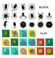 types of funny microbes flat icons in set vector image vector image