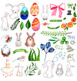 watercolor easter elements collection vector image