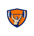 Weightlifter Lifting Barbell Crest Retro vector image vector image