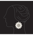 Woman with flower earring vector image vector image