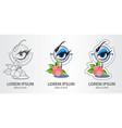 logos eyelash eyebrow correction eye makeup vector image