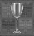 Transparent realistic empty wine glass vector image