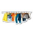 a sticker template clothes racks with many vector image