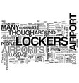 airport lockers text word cloud concept vector image vector image