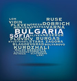 Bulgaria map made with name of cities vector image