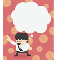 Businessman with speech bubbles financial concept vector image