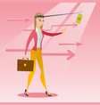 businesswoman trying to catch money on fishing rod vector image vector image