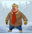 cartoon hefty man in winter clothes in a snowy vector image vector image
