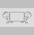 cartoon kids with placard in their hands in line vector image vector image