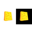 cheese block icon on black and white background vector image
