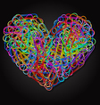 colorful paper clips in heart shape vector image vector image