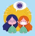 covid 19 coronavirus pandemic sick girl with mask vector image vector image
