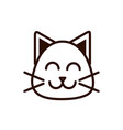 cute face cat animal cartoon icon thick line vector image