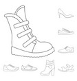 different shoes outline icons in set collection vector image