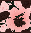 floral seamless peony pattern drawn in sketch vector image vector image