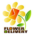 flower shop and delivery symbol vector image vector image