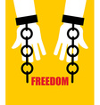 Freedom Broken fetters Liberation from slavery vector image