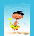 fun cartoon child on the beach during the hot vector image