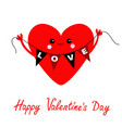 happy valentines day cute red heart holding vector image