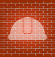 hardhat sign whitish icon on brick wall vector image vector image