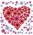heart with floral elements on white background vector image