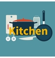 Kitchen utensils Flat design vector image vector image