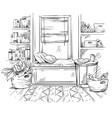 line interior sketch a cozy window seat with vector image vector image