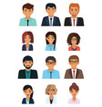 male and female faces avatars businessman and vector image