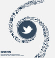 messages retweet icon sign in the center Around vector image vector image