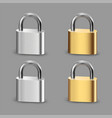 padlock icon set closed padlocks metal gold vector image