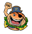 pirate party fast food burger vector image vector image