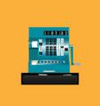 retro cash register front view vector image vector image