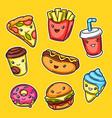 set cute kawaii fast food meal vector image vector image