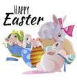 set easter chocolate egg hunt bunny basket on vector image vector image
