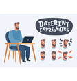 set of male facial emotions bearded man vector image vector image