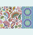 set seamless floral pattern and border vector image vector image