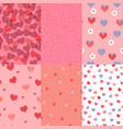 set seamless patterns with hearts graphics vector image vector image