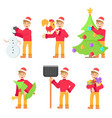 set with young character in christmas hat in vector image vector image